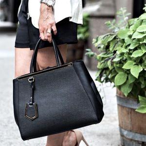 Fendi 2Jours Black Medium textured leather tote